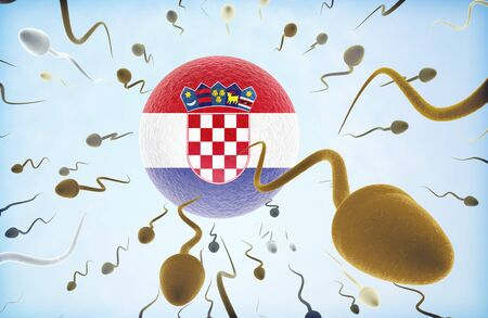 Emigration concept illustration: Sperms of different colors (for different races) swimming away from an egg cell with the flag of Croatia.
