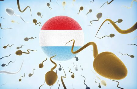 Emigration concept illustration: Sperms of different colors (for different races) swimming away from an egg cell with the flag of Luxembourg. Stock Photo