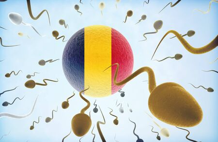 Emigration concept illustration: Sperms of different colors (for different races) swimming away from an egg cell with the flag of Chad. Stock Photo