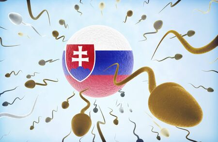 Emigration concept illustration: Sperms of different colors (for different races) swimming away from an egg cell with the flag of Slovakia.