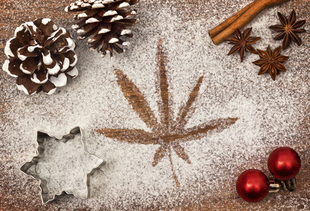 Festive motif of flour in the shape of a weed leaf Stock Photo