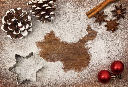 Festive motif of flour in the shape of China map