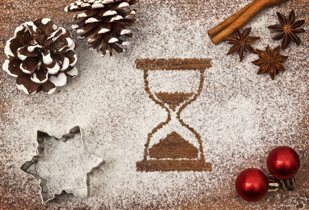 Festive motif of flour in the shape of an hourglass Imagens