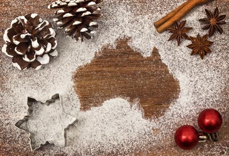 Festive motif of flour in the shape of Australia map