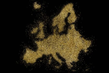 Europe shaped from golden glitter on a black background (series)