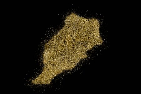 Morocco shaped from golden glitter on a black background (series)