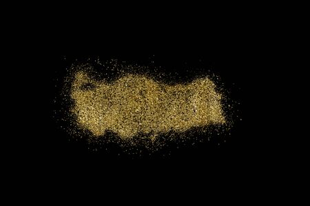 Turkey shaped from golden glitter on a black background (series)