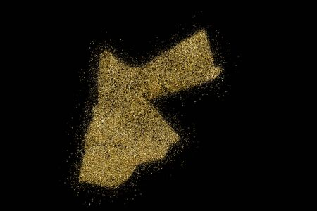 Jordan shaped from golden glitter on a black background (series)