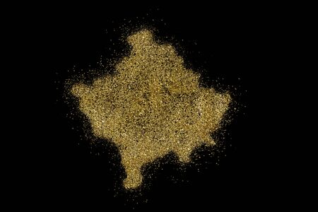 Kosovo shaped from golden glitter on a black background (series)