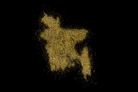 Bangladesh shaped from golden glitter on a black background (series)