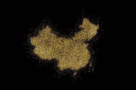 China shaped from golden glitter on a black background (series)