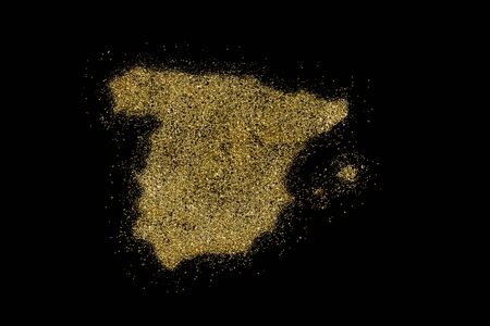 Spain shaped from golden glitter on a black background (series) Stock Photo