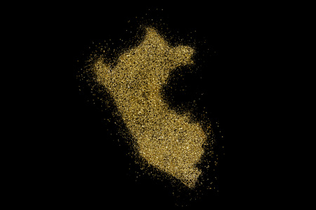 Peru shaped from golden glitter on a black background (series)