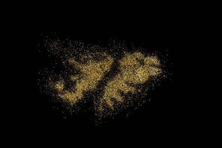 Falkland Islands shaped from golden glitter on a black background (series)
