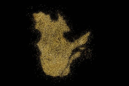 Quebec shaped from golden glitter on a black background (series)