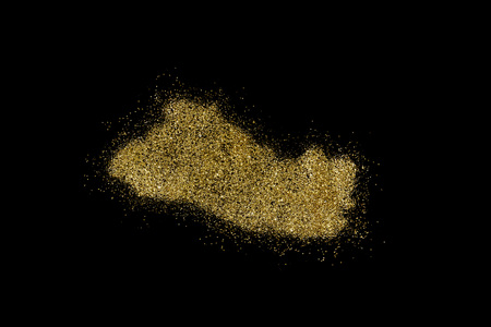 El Salvador shaped from golden glitter on a black background (series) Stock Photo