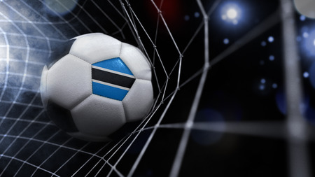 Very realistic rendering of a soccer ball with the flag of Botswana in the net.(series)
