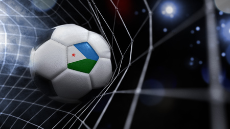 Very realistic rendering of a soccer ball with the flag of Djibouti in the net.(series)