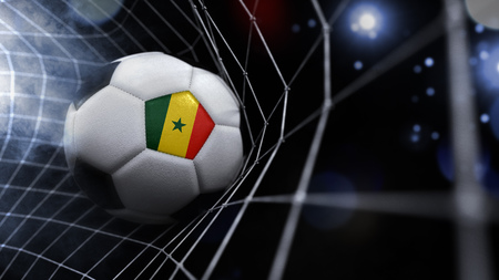 Very realistic rendering of a soccer ball with the flag of Senegal in the net.(series)
