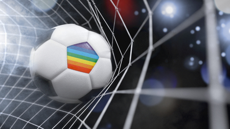 Very realistic rendering of a soccer ball with the flag of Peace in the net.(series) Stock Photo
