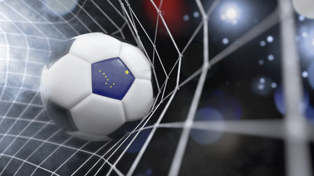 Very realistic rendering of a soccer ball with the flag of Alaska in the net.(series)