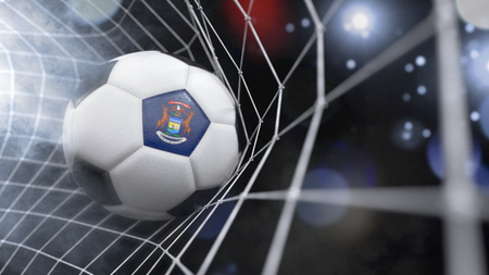 Very realistic rendering of a soccer ball with the flag of Michigan in the net.(series)