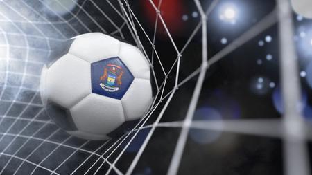 Rendu très réaliste d'un ballon de football avec le drapeau du Michigan dans le filet. (Série)