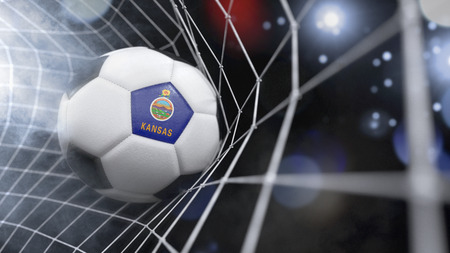 Very realistic rendering of a soccer ball with the flag of Kansas in the net.(series) Banque d'images