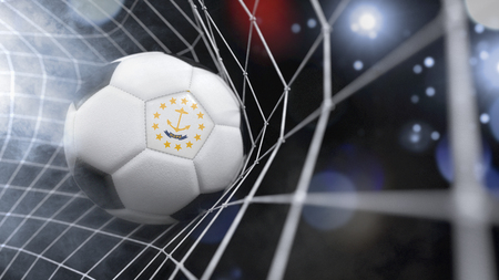 Very realistic rendering of a soccer ball with the flag of Rhode Island in the net.(series) Banque d'images