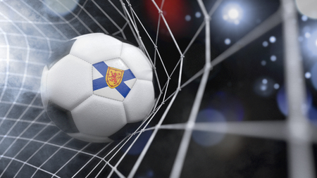 Very realistic rendering of a soccer ball with the flag of Nova Scotia in the net.(series)