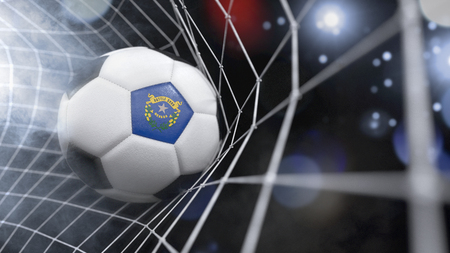 Very realistic rendering of a soccer ball with the flag of Nevada in the net.(series) Banque d'images