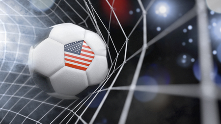 Very realistic rendering of a soccer ball with the flag of USA in the net.(series) Banque d'images