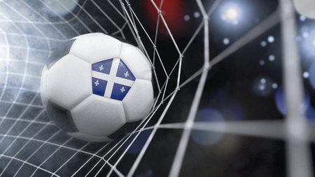 Very realistic rendering of a soccer ball with the flag of Quebec in the net.(series)