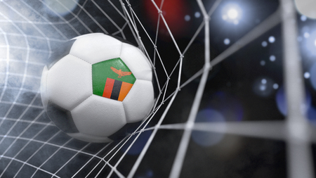 Very realistic rendering of a soccer ball with the flag of Zambia in the net.(series)