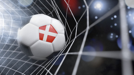 Very realistic rendering of a soccer ball with the flag of Denmark in the net.(series)