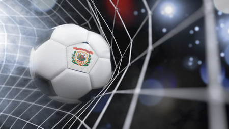 Very realistic rendering of a soccer ball with the flag of West Virginia in the net.(series)