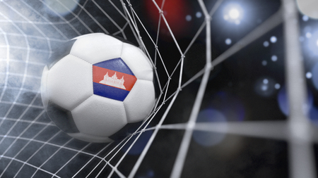 Very realistic rendering of a soccer ball with the flag of Cambodia in the net.(series)