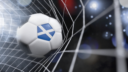 Very realistic rendering of a soccer ball with the flag of Scotland in the net.(series) Banque d'images
