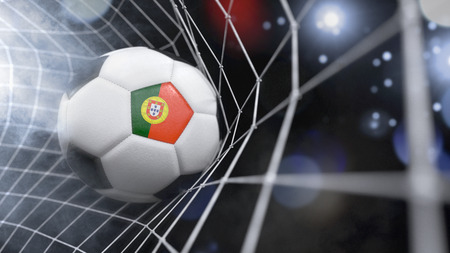 Very realistic rendering of a soccer ball with the flag of Portugal in the net.(series)