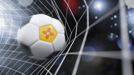 Very realistic rendering of a soccer ball with the flag of New Mexico in the net.(series)