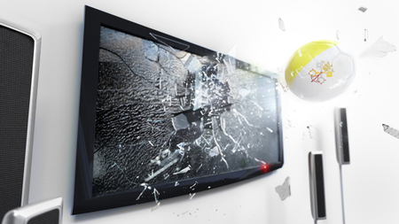 Soccer ball with the flag of Vatican City flying through a shattering tv screen.(3D rendering series) Imagens