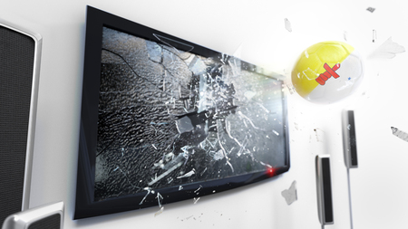 Soccer ball with the flag of Nunavut flying through a shattering tv screen.(3D rendering series) Stock Photo