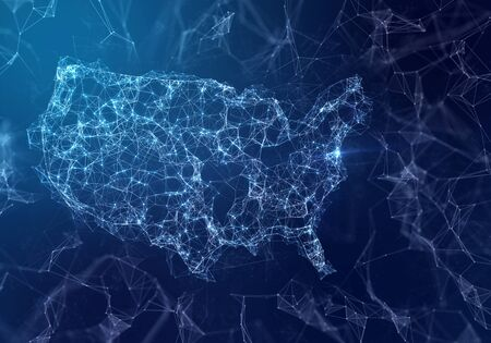 The map of USA indicating a connected web of dots and lines. (series)