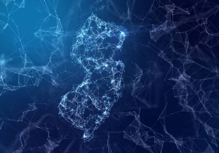 The map of New Jersey indicating a connected web of dots and lines. (series)