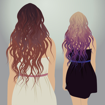wedding dress back: Hipster girls with beautiful hair, illustration