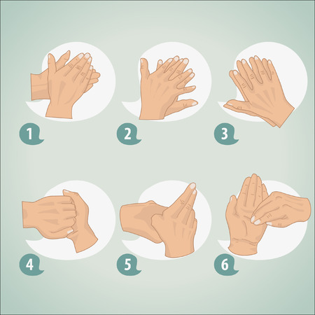 washing hands: Hand washing procedure Illustration