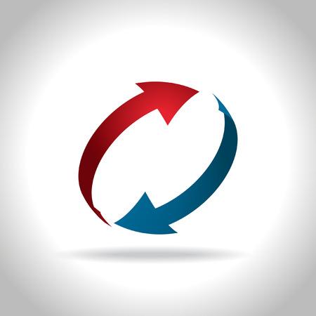 Vector blauwe en rode pijlen pictogram Stockfoto - 35057028