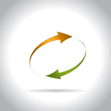 Green and orange arrows icon
