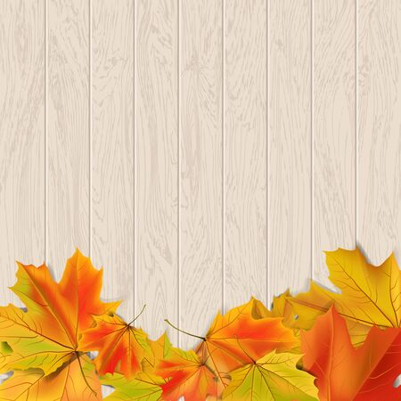 frame border: Autumn background with autumn leaves on wooden surface illustration