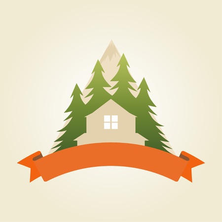 ecology house: House in Mountains symbol